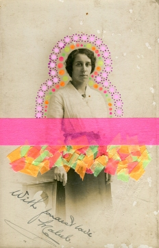 Collage realised over a vintage portrait of a woman decorated with fluorescent washi tape and pastel colours posca pens.
