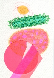 Abstract collage of organic and geometric forms realised with pink paper and fluorescent pink and green highlighters.