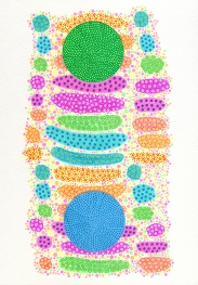 Abstract collage of organic and geometric forms realised with multicolour highlighter markers.