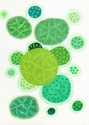 Abstract collage of organic and geometric forms realised with green paper and circular green decorations with pens.