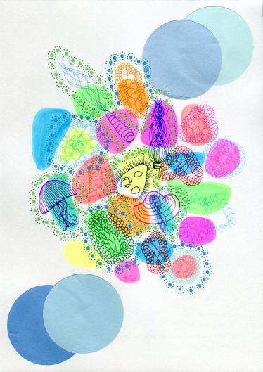Abstract collage of organic and geometric forms that recall underwater creatures.
