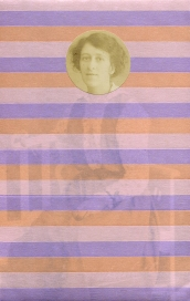 Collage realised over a vintage portrait of a woman decorated with striped pastel colours of washi tape.