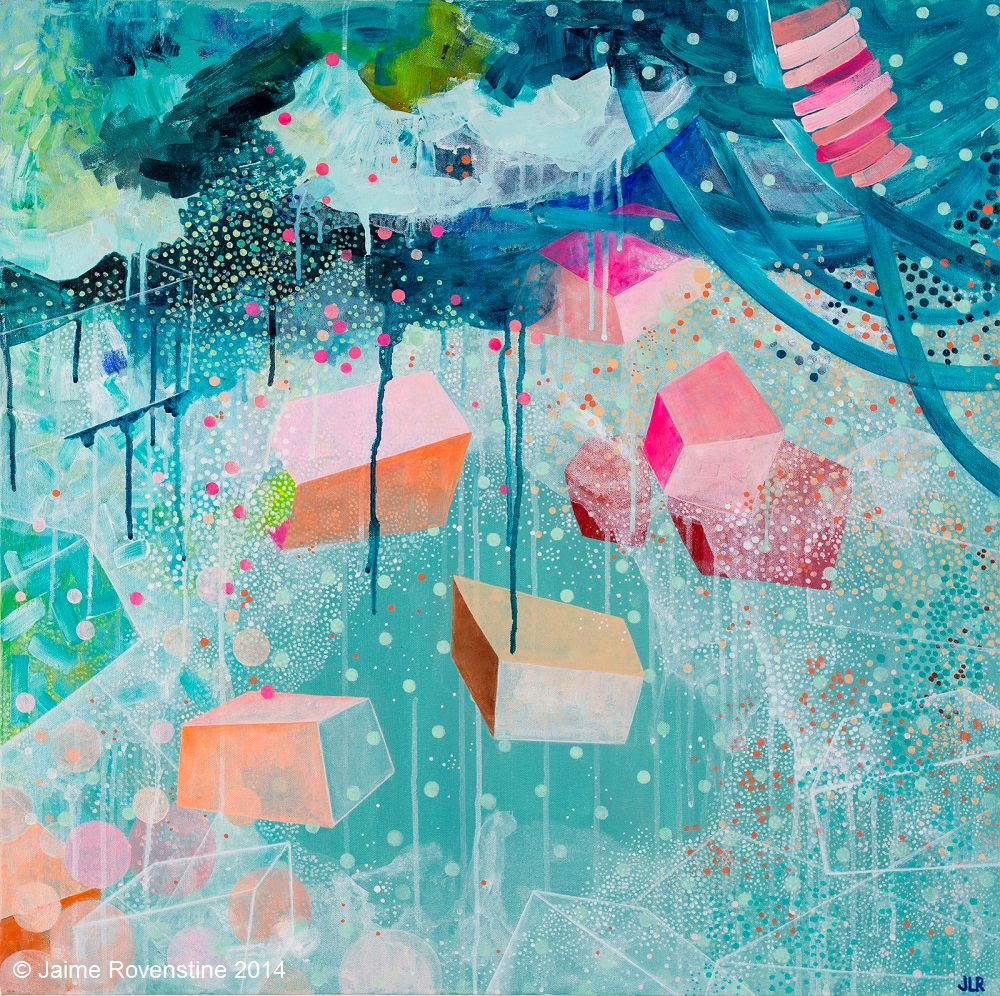 Abstract painting realised with geometric and organic forms using very bright colours into the composition.