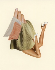 Collage of some textures with a giant hand and a pair of woman legs.