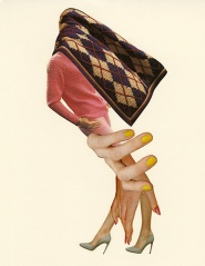 Collage of a textile floating over a woman's head and a pair of hands and legs under her.
