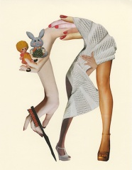 Collage of hands, finger, a pair of legs, some plush toys and a white textile.