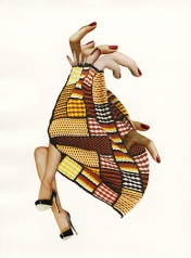 Collage of a textile where some fingers and a pair of woman's leg are coming out.