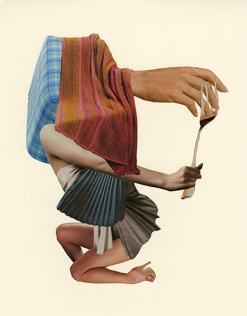 Collage of a textiles composition with a hand, an arm with a giant fork in the hands and a pair of legs.