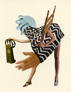 Collage composition made of two arms, a pair of legs, a giant hand, some cups and a textile.