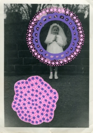 Collage realised over a vintage portrait of a young girl decorated with pink shades of posca pens.