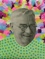 Collage realised over a vintage portrait of a smiling man decorated with posca pens and washi tape.