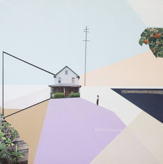 Mixed media collage of a surreal landscape of a building surrounded by geometric paste colours shades.