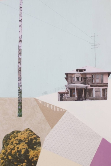 Mixed media collage of a surreal landscape of a building surrounded by a plant, a tree and some geometric abstract patterns.