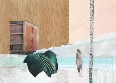 Mixed media collage of a surreal landscape of a building surrounded by a tree, a giant plant and some geometric patterns.