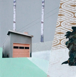 Mixed media collage of a surreal landscape of a building surrounded by two trees, a plant and some geometric patterns.