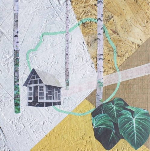 Mixed media collage of a surreal landscape of a building surrounded by three trees, a plant and some geometric patterns.