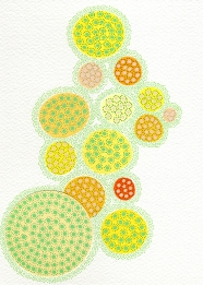 Abstract collage of organic and geometric forms realised with yellow circular paper cuts and pens.