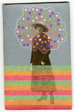 Collage realised over a vintage portrait of a young woman decorated using fluorescent washi tape mt and posca pens.