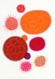 Abstract collage of organic and geometric forms realised using red and orange shades.