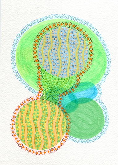 Abstract collage of organic and geometric forms realised with green and yellow colours.
