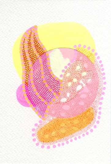 Abstract collage of organic and geometric forms realised using pastel colour shades.