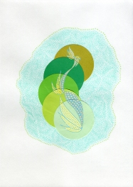 Abstract collage of organic and geometric forms realised using green pens and circular paper cuts.