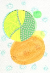 Abstract collage of organic and geometric forms realised using green and orange colours.