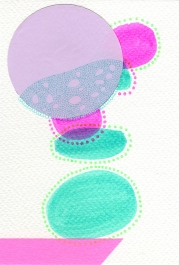 Abstract collage of organic and geometric forms realised using fluo green and pink colours.
