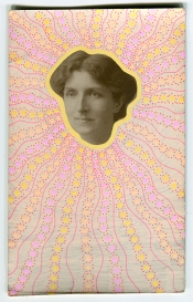 Collage realised over a vintage portrait of a woman decorated with posca pens in pastel shades.