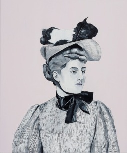Painting of a woman portrait in a victorian dress.