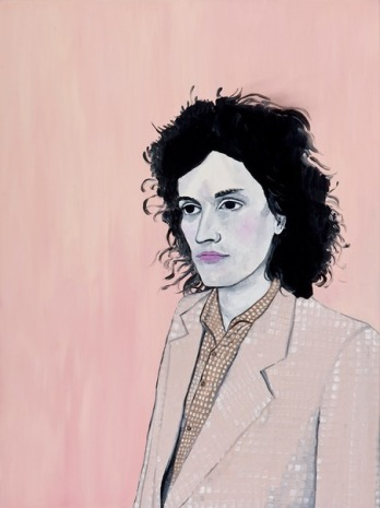 Painting of a woman portrait with a pink suit and a pink background.