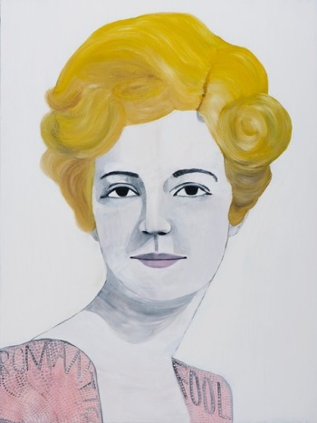 Painting of a frontal portrait of a blonde woman.