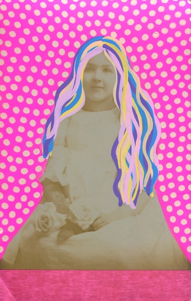 Collage realised over a vintage portrait of a young little girl decorated with fluo pink pens and washi tape.