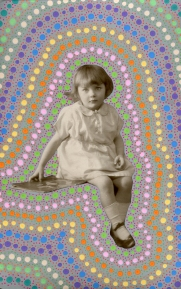 Collage realised over a vintage portrait of a young girl decorated with dotty posca pens.