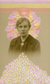 Collage realised over a vintage portrait of a woman decorated with pastel shades.