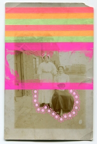 Collage realised over a vintage portrait of two women in outdoors decorated with posca pens and washi tape.