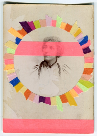 Collage realised over a vintage portrait of a woman decorated with multicolour washi tape.