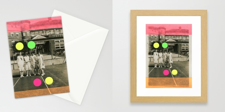Photo collage of 2 art prints of my artworks available on Society6, stationery cards and framed art prints.