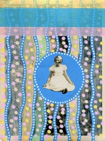 Collage over a girl portrait decorated with dotty pastel colours pens and striped pastel colours washi tape.