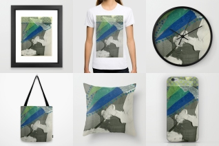 Photo collage of 6 art prints of my artworks available on Society6, framed art prints, T-shirt, wall clock, tote bag, throw pillow and iphone skin.