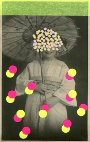 Collage over a vintage portrait of a young girl dressed with kimono.