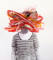 Woman portrait with the face covered with red and orange acrylic stripes.