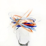 Man portrait with the face covered with orange and blue acrylic stripes.