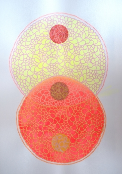 Abstract collage of organic and geometric forms realised with fluo red and yellow acrylics and a crochet grid made with pink pens.