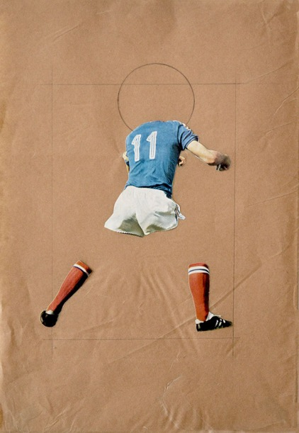 Collage of a headless soccer player on brown paper.