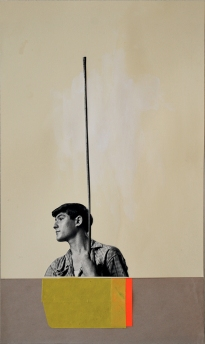 Collage of a young man with a long pole in his hands with a cream paper background.