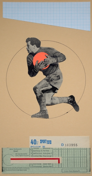 Collage of a soccer player holding a fluorescent orange ball.