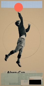 Collage of a soccer player jumping and holding a fluorescent orange ball.