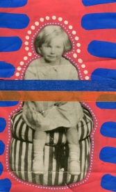 Collage over a vintage baby girl portrait decorated with electric blue and deep red shades.
