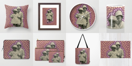 Photo collage of 8 art prints of my artworks available on Society6, throw pillow, framed art print, wall clock, mug, laptop sleeve, set of 3 pouches, tote bag and rug.